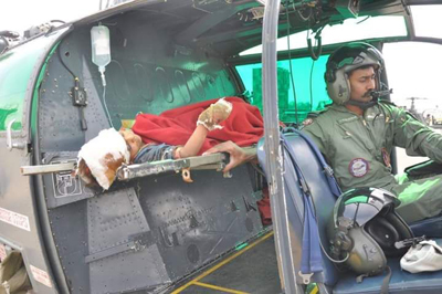 An injured girl being airlifted to Jammu on Sunday. —Excelsior/Harbhajan