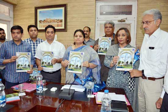 MoS for Tourism, Priya Sethi releasing a magazine at Jammu on Wednesday.