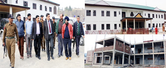DDC Khalid Jahangir during inspection of ongoing projects in Kupwara.