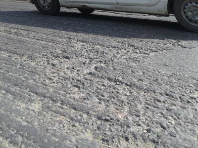 Damaged portion of National Highway in Kathua district. -Excelsior/Pardeep