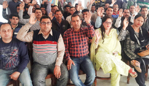 Agitating ReT Teachers' Forum members during monthly meeting in Jammu.