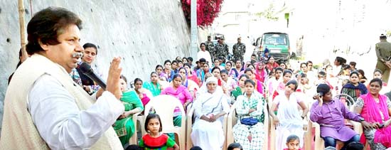 PCC leader Raman Bhalla addressing women activists at Gangyal in Jammu on Thursday.