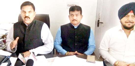 NPP chairman Harsh Dev Singh addressing press conference in Jammu.