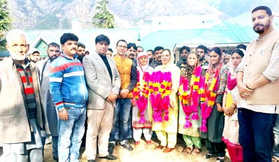 Member Legislative Council Firdous Tak along with other dignitaries and a public gathering during a function at Kishtwar.