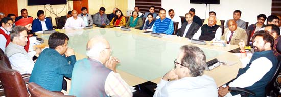 Minister for Forest, Ch Lal Singh chairing a meeting at Jammu on Thursday.
