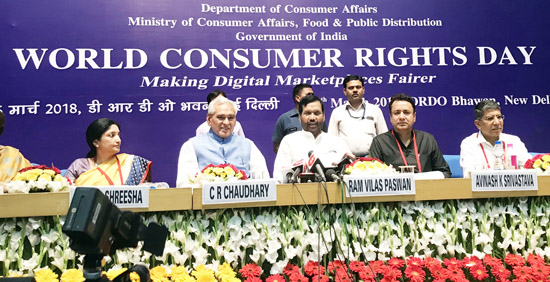 Dignitaries during International Consumer Rights Day function at New Delhi on Thursday.