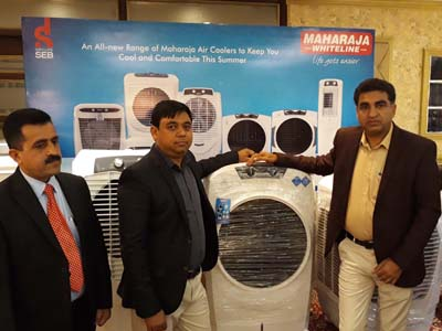 Representatives of Maharaja Whiteline launching its new range of coolers in Jammu on Monday.