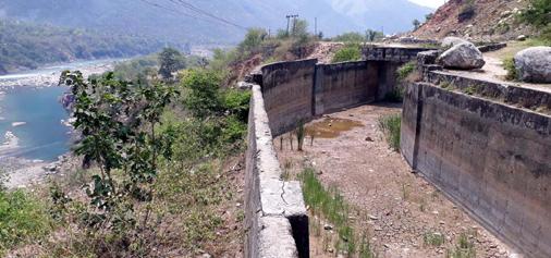 Damaged portion of Sewa III power project at Mahshika, Basholi.