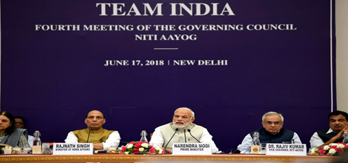 Prime Minister Narendra Modi at the fourth meeting of the Governing Council of NITI Aayog in New Delhi on Sunday. (UNI)