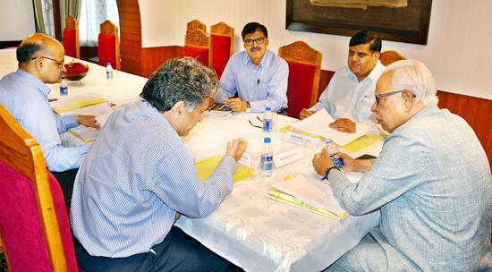 Governor N N Vohra chairing State Administrative Council meeting at Raj Bhavan in Srinagar on Tuesday.