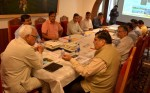Governor NN Vohra chairing a meeting on Tuesday.