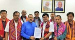 Union Minister Dr Jitendra Singh receiving a memorandum from Garo Hills delegation representing various tribal organizations from Meghalaya, at New Delhi on Tuesday.