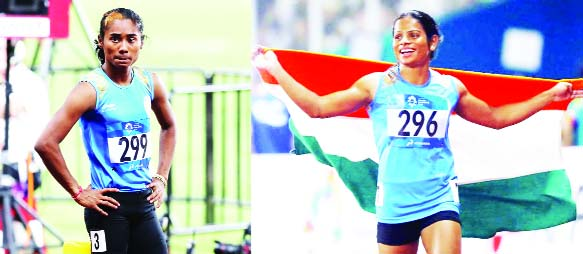 Hima Das and Dutee Chand after winning silver medals in Asian Games at Jakarta/Palembang in Indonesia.