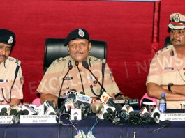 DG CRPF RR Bhatnagar flanked by ADG J&K VSK Kaumudi (L) and IG CRPF Jammu Sector AV Chauhan (R) at a press conference in Jammu on Friday. -Excelsior/Rakesh
