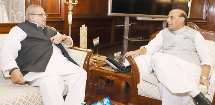 Governor Satya Pal Malik in a meeting with Home Minister Rajnath Singh in New Delhi on Tuesday.