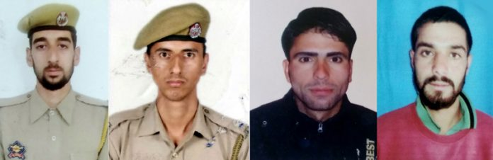 Police personnel killed in Shopian on Wednesday.