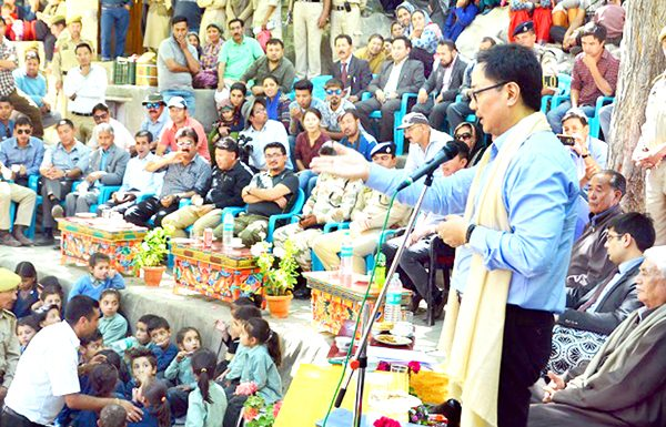 Union Minister of State for Home Kiren Rijiju addressing the gathering in Leh on Thursday. -Excelsior/Morup Stanzin