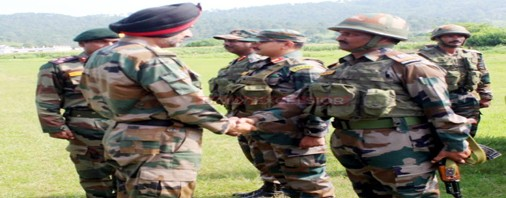 Northern Command chief Lt Gen Ranbir Singh in a forward area of Rajouri sector on Thursday.