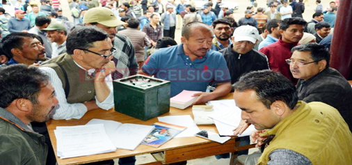 Government officials before being dispatched to polling stations in Kargil on Sunday.