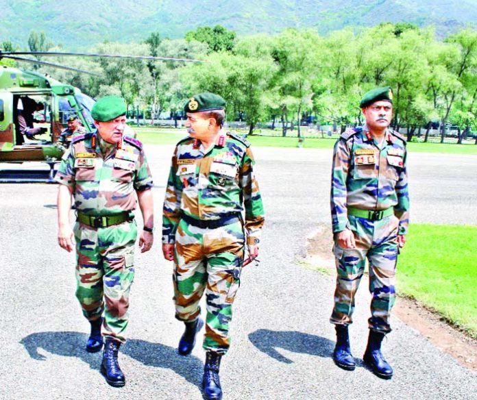 Army chief Gen Bipin Rawat in Srinagar on Friday.