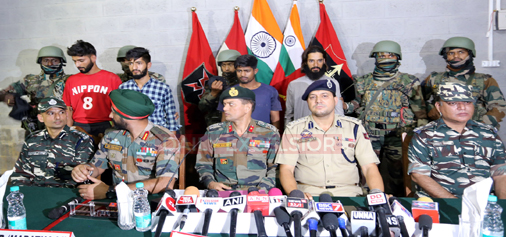 Four newly recruited militants produced before media by Army and police officials in Kupwara on Sunday. —Excelsior/Abid Nabi