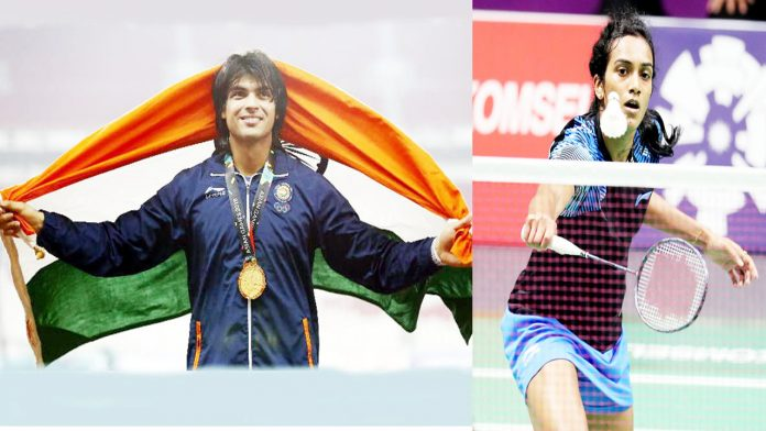 Neeraj Chopra holding Indian Flag after winning gold medal in Asian Games (L) P V Sindhu in action during semifinal.