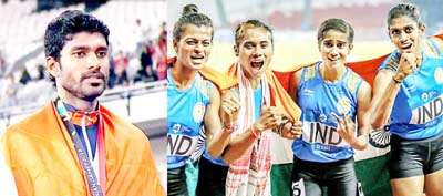India's Jinson Johnson during the medal ceremony (L). India's women's relay team posing after clinching gold at the Asian Games on Thursday.