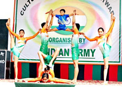 Students presenting an item during cultural festival organized by Army.
