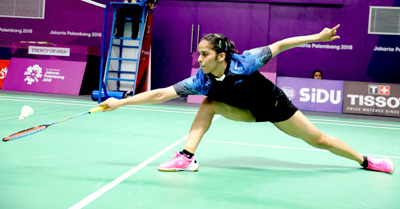 Saina Nehwal in action at Asian Games. (UNI)