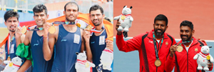 Indian rowers after clinching medals at Asiad (L) Rohan Manchanda Bopanna and Divij Sharan after claiming gold in Tennis at Jakarta in Indonesia .