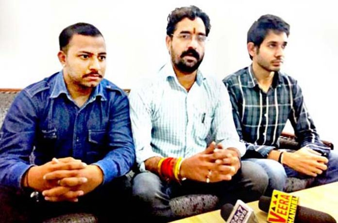 Naresh Kumar, Udhampur City president, Dogra Kranti Dal and others during a press conference at Udhampur.