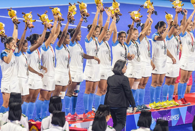 Indian Silver medal winning Women's Hockey Team during Asian Games at Jakarta in Indonesia.