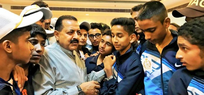 Union Minister Dr Jitendra Singh during an informal interaction with students from Udhampur and Kathua, at a luncheon get-together hosted by him, at New Delhi on Friday.