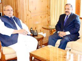 Union Minister Dr Jitendra Singh calling on Governor, Satya Pal Malik, at Raj Bhawan, Srinagar on Thursday.