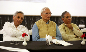 Senior Congress leaders Mani Shankar Aiyar along with OP Shah speaking at an event in Srinagar. -Excelsior/Shakeel