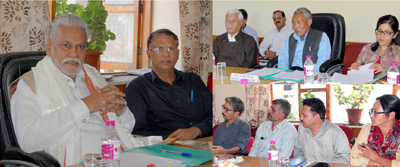 Union Minister of State for Agriculture Parshottam Rupala chairing a meeting in Leh on Sunday.