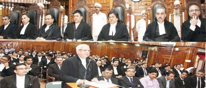 Justice Janak Raj Kotwal being accorded farewell on Tuesday.
