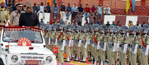 Advisor B B Vyas inspecting passing out parade in Srinagar.
