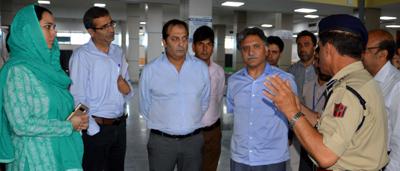 Advisor Khurshid Ahmed Ganai inspecting arrangements for Hajj pilgrims at International Airport in Srinagar on Sunday.