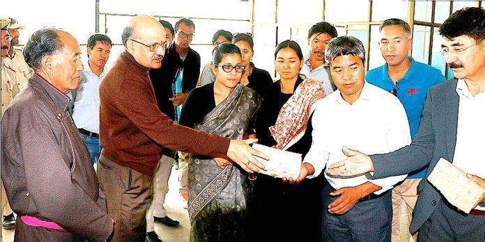 CS BVR Subramanyam interacting with officials at Leh on Monday.