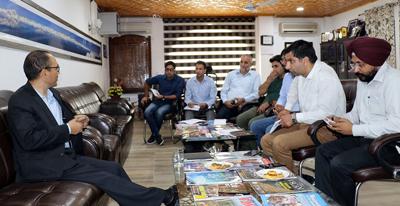 Secretary Tourism Rigzin Samphel chairing a meeting in Srinagar on Sunday.