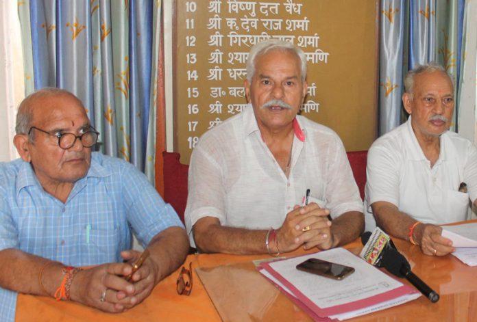 Sanatan Dharam Sabha representatives at a press conference at Jammu on Friday. -Excelsior/Rakesh