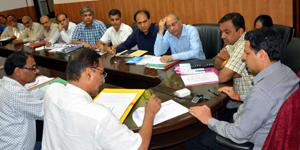 Divisional Commissioner Jammu Sanjeev Verma chairing a meeting on Saturday.