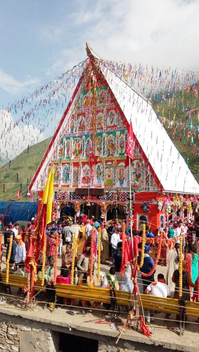 Pilgrims paying obeisance at Chandi Mata Dham. -Excelsior/Tialk Raj