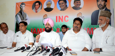 AICC leader and former president Punjab PCC Partap Singh Bajwa (MP) addressing press conference at PCC headquarters in Jammu. — Excelsior/Rakesh