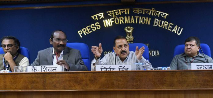 Union Minister Dr Jitendra Singh, flanked by ISRO Chairman Dr K. Sivan, addressing a press conference at PIB Centre, New Delhi on Tuesday.