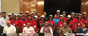 Union Home Minister Rajnath Singh, along with Union Minister Dr Jitendra Singh, with a group of students from district Kathua,at North Block, New Delhion Thursday.