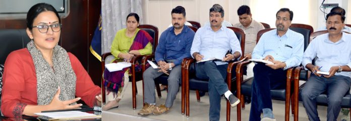 DDC Samba, Sushma Chauhan, chairing a meeting on Tuesday.