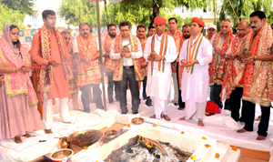 Havan being performed to celebrate Foundation Day of Shrine Board at Katra.