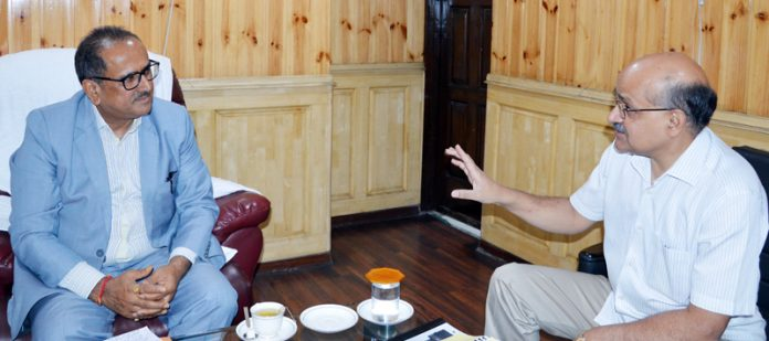 Speaker Legislative Assembly Dr Nirmal Singh in a meeting with Chief Secretary BVR Subrahmanyam in Srinagar on Wednesday.